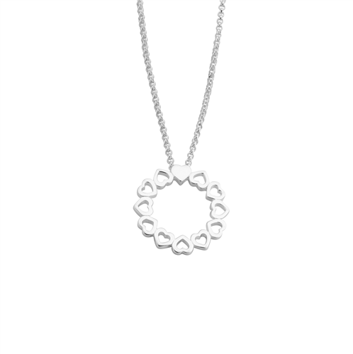 Round Hearts Silver Necklace_0