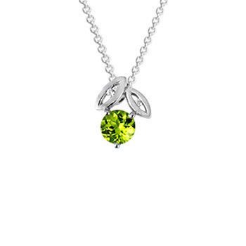 Evolve Promise Leaf Necklace - Sterling Silver & Peridot_0