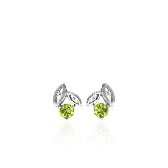 Evolve Sterling Silver Promise Leaf Stud Earrings with Peridot and Cubic Zirconia_0