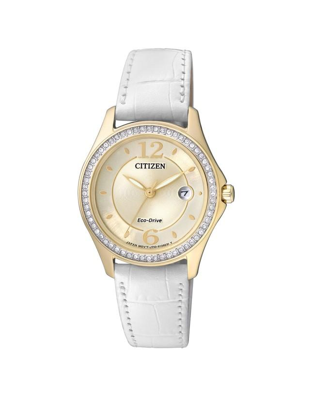 Citizen Ladies Eco-Drive Gold Analogue with Swarovski Crystals and White Leather Strap_0