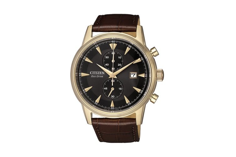 Citizen Eco-Drive Analogue Chronograph Watch with Brown Leather Strap_0